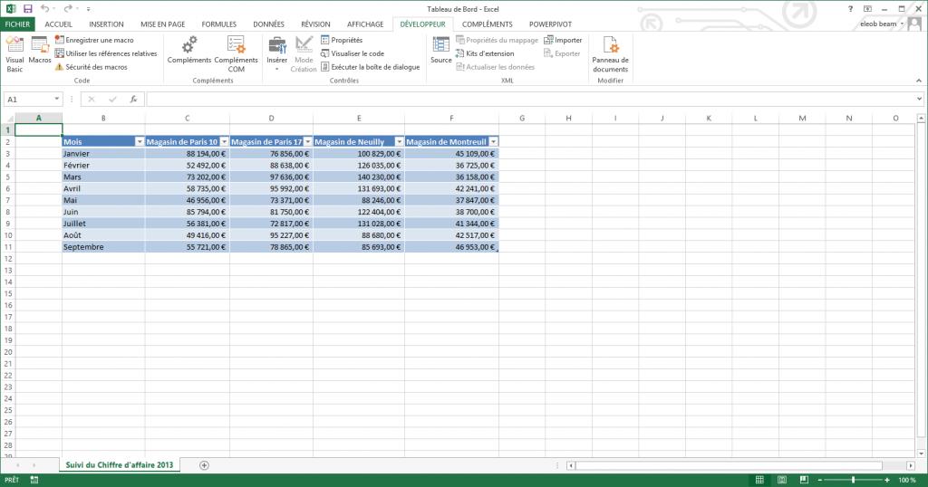 onglet développeur Excel 2013 2016 2019 affiché