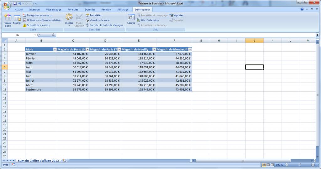 onglet développeur Excel affiché 2007