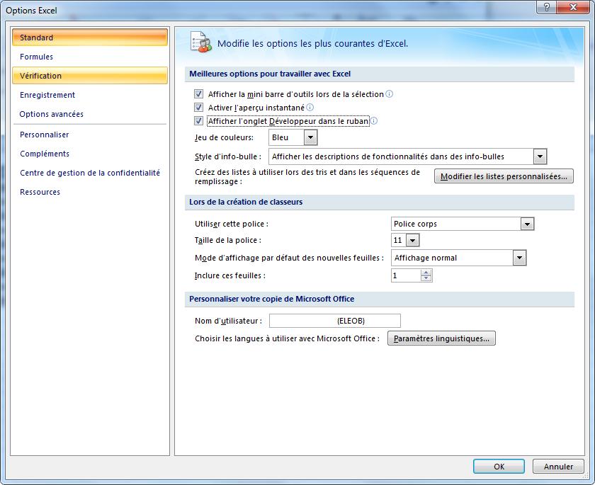 excel onglet développeur option 2007 activé